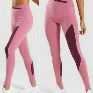 Gymshark Asymetric Dusky Pink/Dk Ruby Leggings XS